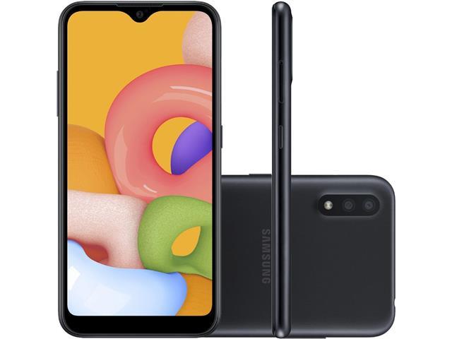 "Smartphone Samsung Galaxy A01 32GB Tela 5.7"" Câm Dupla 13MP+2MP Preto"
