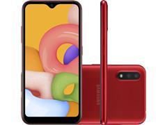 "Smartphone Samsung Galaxy A01 32GB Tela 5.7"" Câm Dup 13MP+2MP Vermelho"