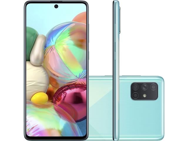 "Smartphone Samsung Galaxy A71 128GB 4G 6.7"" Quad Câm 64+12+5+5MP Azul"