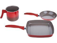 Jogo de Panela Brinox Antiaderente Ceramic Life Smart Vermelho 7 Peças - 4
