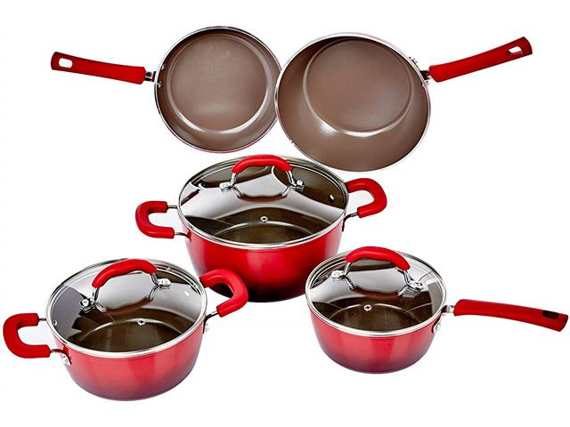 Jogo de Panelas Brinox Ceramic Life Select Vermelho Romã 5 Peças