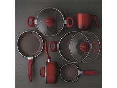 Jogo de Panelas Brinox Ceramic Life Smart Plus 6 Peças Vermelho - 1
