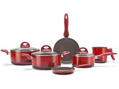 Jogo de Panelas Brinox Ceramic Life Smart Plus 6 Peças Vermelho