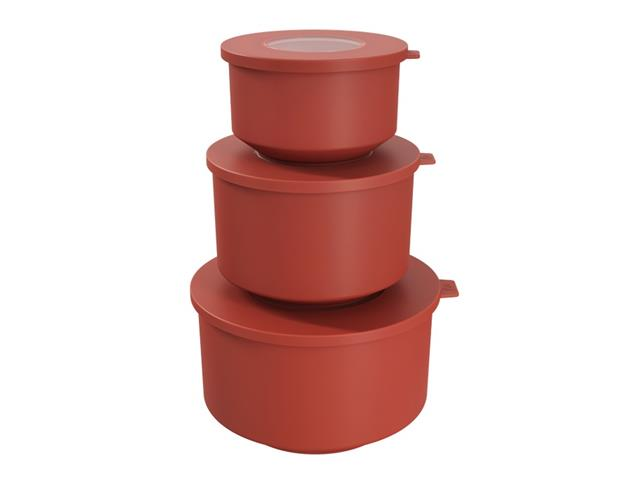 Conjunto de Potes Coza Hoop 500ml, 1L, 2L Vermelho Goiaba 3 Peças