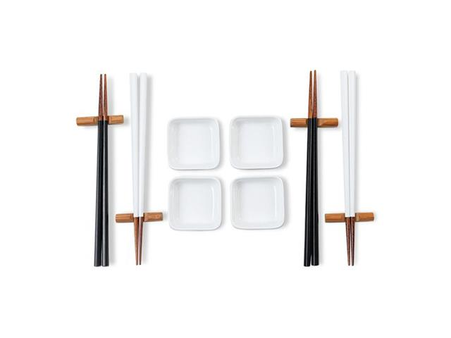 Conjunto de Hashi Haus Nankin para 4 pessoas Branco e Preto 12 Peças