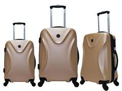 Conjunto de Malas Yins ABS com Roda 3 Peças 360º Champagne