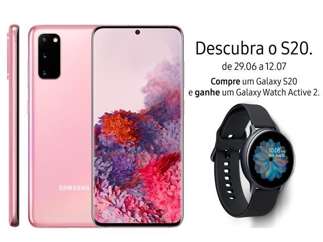 "Smartphone Samsung Galaxy S20 128GB Tela 6.2"" 8GB RAM 64+12+12MP Rosa"