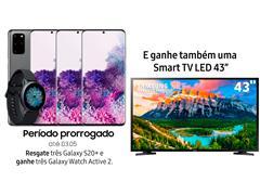 """Resgate no Lançamento 3 Samsung Galaxy S20+ Cinza e GANHE + 1 TV 43"""" - 0"""