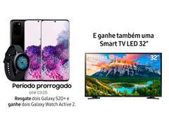 """Resgate no Lançamento 2 Samsung Galaxy S20+ Preto e GANHE + 1 TV 32"""""""