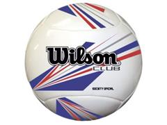 Bola de Futebol Wilson Society Club Branca com Azul e Vermelho