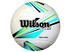 Bola de Futebol Wilson Society Club Branca com Azul e Preto