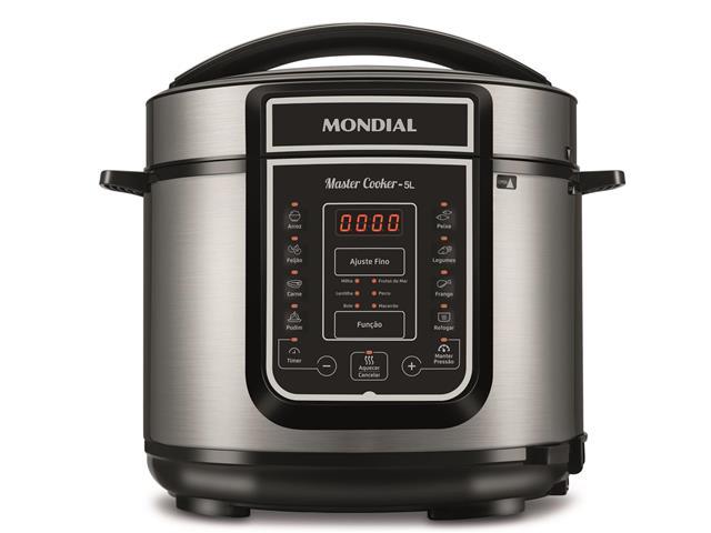 Panela de Pressão Elétrica Digital Mondial Master Cooker 5L Inox