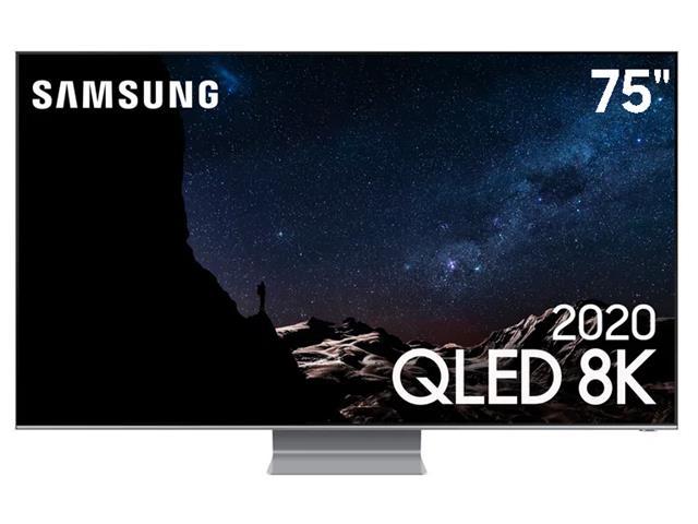 "Smart TV QLED 75"" Samsung Pontos Quânticos 8K IA HDR3000 4HDMI Q800T"