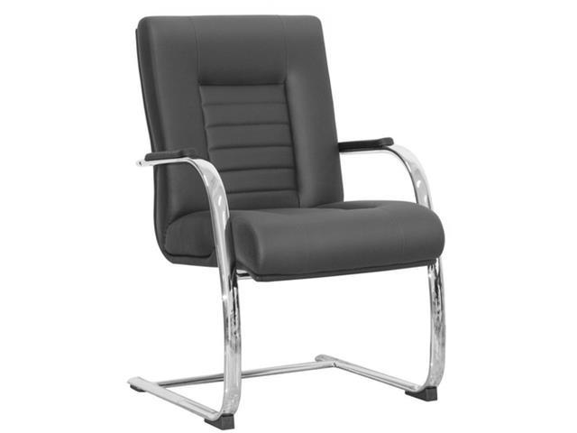 Cadeira New Onix Fixa Preta e Estrutura Cromada
