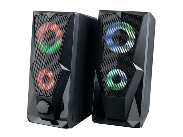 Caixa de Som Gamer Multilaser P2+USB Stereo 2.0 LED RGB 15W