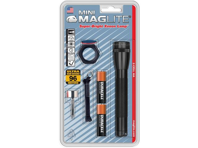 Mini Lanterna Maglite Preta com Acessórios
