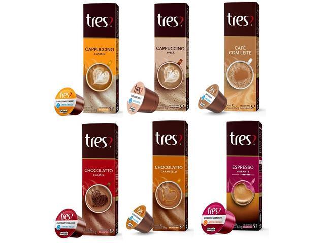 Combo 60 Cápsulas Três Corações Espresso, Cappuccino e Chocolatto