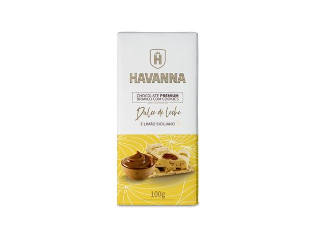 Barra de Chocolate Branco Havanna c/ Cookie Recheio Doce de Leite 100g
