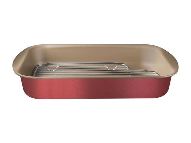 Assadeira com Grelha Tramontina Antiaderente Vermelha 34CM