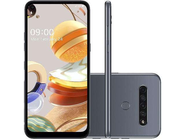 """Smartphone LG K61 4G 128GB Duos 6,53""""FHD+ IA Quad-Câm 48+8+5+2 Titânio"""
