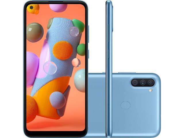 """Smartphone Samsung Galaxy A11 64GB 4G 6.4"""" Tripla Câm 13+5+2MP Azul"""