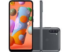 "Smartphone Samsung Galaxy A11 64GB 4G 6.4"" Tripla Câm 13+5+2MP Preto"