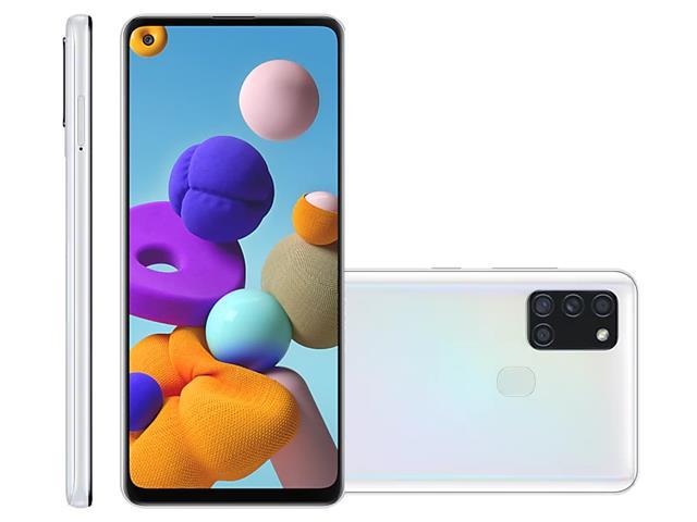 "Smartphone Samsung Galaxy A21s 64GB 4G 6.5"" QuadCâm 48+8+2+2MP Branco"
