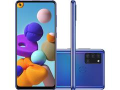 "Smartphone Samsung Galaxy A21s 64GB 4G 6.5"" QuadCâm 48+8+2+2MP Azul"