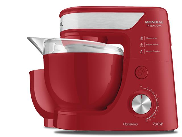 Batedeira Planetária Mondial Premium Vermelha 700W