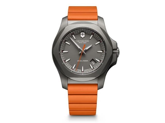 Relógio Victorinox I.N.O.X. Titanium Cinza Pulseira Laranja