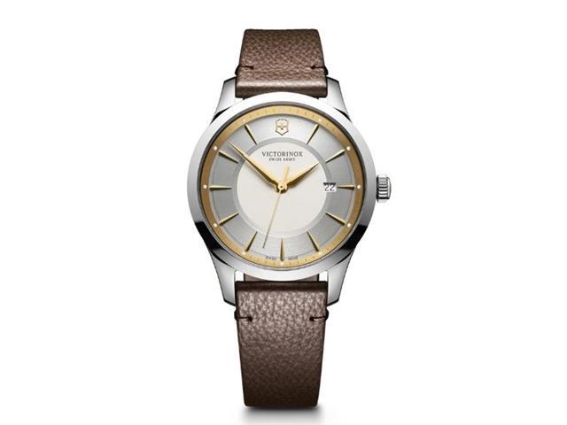 Relógio Victorinox Alliance Prateado Fio DOurado com Pulseira de Couro