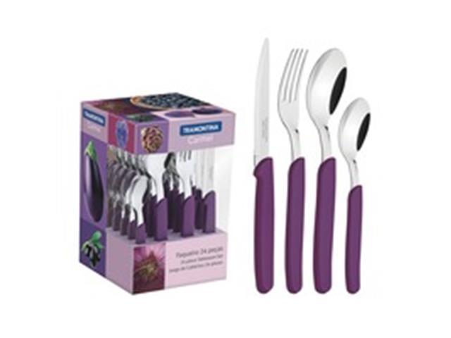 Conjunto de Talheres Tramontina Carmel Purpura/Escuro 24 Peças
