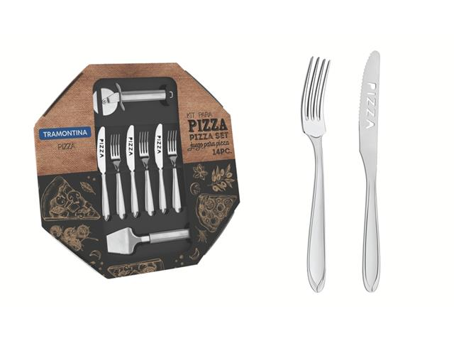 Kit para Pizza Tramontina Laguna em Aço Inox 14 Peças