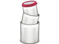 Jogo de Potes Inox com Tampa Plástica Tramontina Vermelho 3 Peças - 1