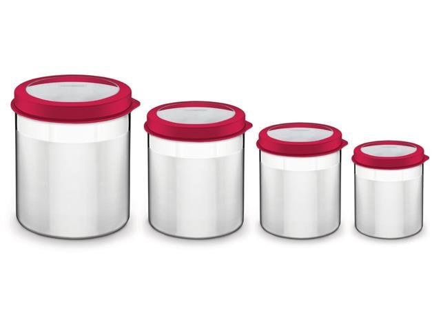 Jogo de Potes Inox com Tampa Plástica Tramontina Vermelho 4 Peças