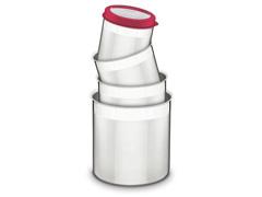 Jogo de Potes Inox com Tampa Plástica Tramontina Vermelho 4 Peças - 1
