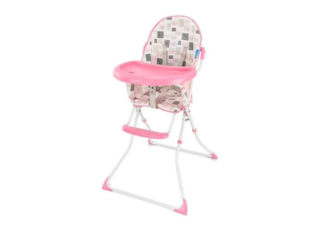 Cadeira Alta de Alimentacao Multikids BB610 Slim Rosa Gatinho