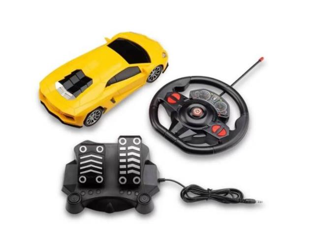 Carrinho de Contole Remoto Mulikids Racing Control Midnight Amarelo
