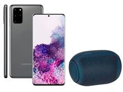 Kit Smartphone Samsung Galaxy S20+ Cinza e Caixa de Som LG XBoom PL22