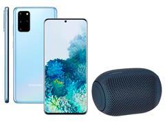 Kit Smartphone Samsung Galaxy S20+ Azul e Caixa de Som LG XBoom PL22