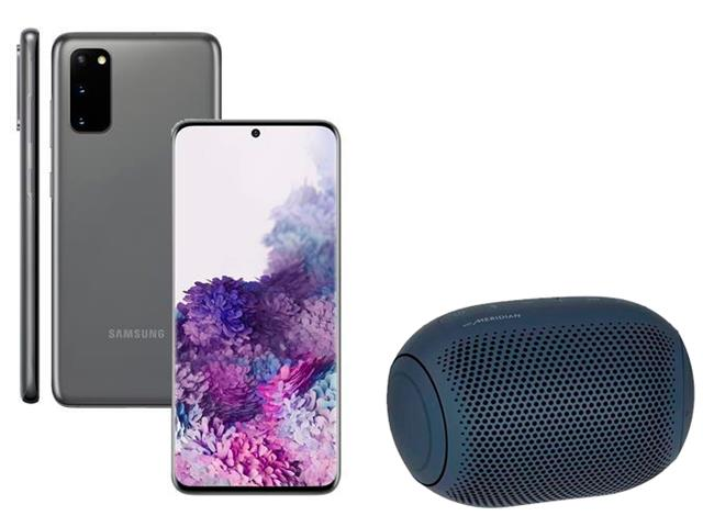 Kit Smartphone Samsung Galaxy S20 Cinza e Caixa de Som LG XBoom PL22