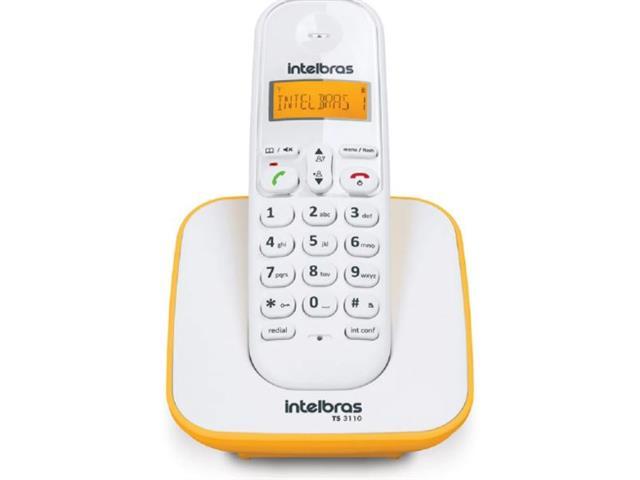 Telefone Sem fio Intelbras 3110 Branco e Amarelo