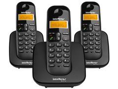 Combo Telefone Sem Fio Intelbras TS 3113 com 2 Ramais Preto