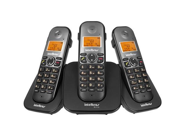 Combo Telefone Sem Fio Intelbras TS 5123 com 2 Ramais Preto