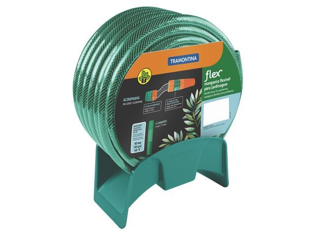 Mangueira Flex Tramontina Verde em PVC 3 Camadas Engates Rosqueado 25M