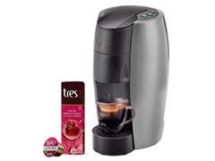Cafeteira Lov Prata Semi Fosco 110v + 80 Cáps Chá de Hibisco e Maçã