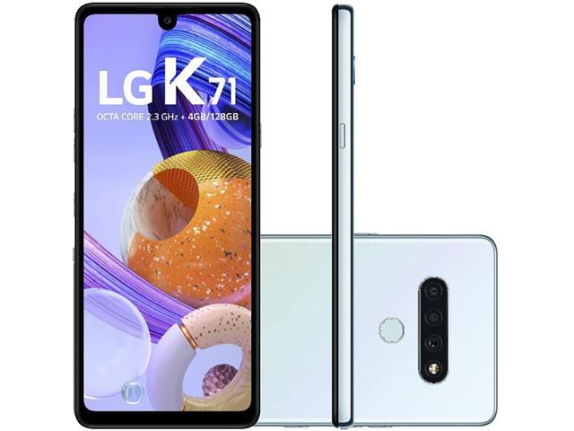 "Smartphone LG K71 4G 128GB Duo 6,8"" HD+ IA Tripla-Câm 48+5+5MP Branco"