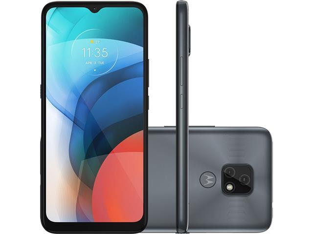 """Smartphone Motorola Moto E7 32GB Duos Tela 6.5"""" 4G Câm 48+2MP Cinza"""