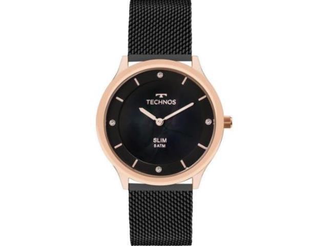 Relógio Technos Feminino Slim Preto e Rosé GL20HI/4P