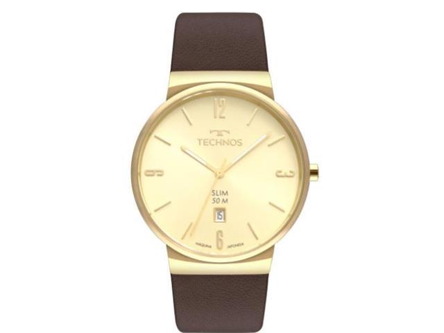 Relógio Technos Masculino Slim Dourado Pulseira em Couro GM10YO/2X